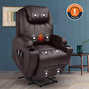 Power Lift Chair Electric Recliner Faux Leather Heated Vibration Massage Sofa