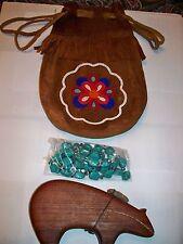 Fringed Beaded Medicine Bag, Zuni Wood Carved Bear Totem & 13 Turquoise Stones