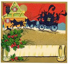 Orange Crate Stock Label 1940S Christmas Xmas Holly Good Cheer Inn Original
