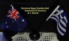 small desk flag set. Australia & Greece flags with  plastic sticks &  stand
