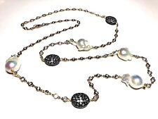 Curtis J Lewis Brass Fresh Water Pearl CZ Necklace
