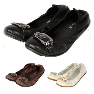 Women's ladys Leather Comfort Ballet Flats Ballerina Loafers Slip on shoes