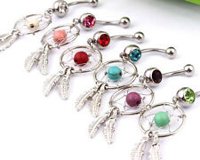 Dream catcher Feather gem crystal DANGLE BELLY NAVEL Hippy Cute Charm Bar Ring