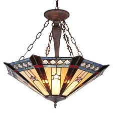 """Tiffany-style Mission 3 Light Inverted Ceiling Pendant Light Fixture 25"""" Shade"""