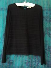 Marcs BNWOT black viscose lace front long sleeve blouse size M