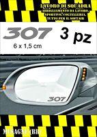 KIT 3 ADESIVI PEUGEOT 307 SPECCHIETTO INTERNO AUTO ARGENTO SILVER 6 X 1,5 CM