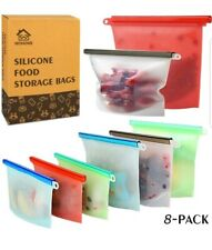 Reusable Silicone Food Storage Bags, WOHOME Freezer Airtight Seal Food 8 pack