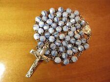 1920s Antique Med Art Deco Blue White Art Glass Beads Rosary-St Silver Hallmark