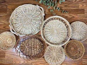 Set Of 7 Wicker Baskets Boho Rattan Basket Wall Decor