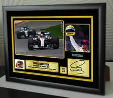 "Lewis Hamilton F1 Canada 2017 Framed Canvas Print Signed ""Great Gift/Souvenir"""