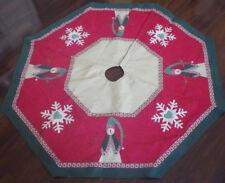 """Christmas Tree Skirt Snowman & Snowflake Design Nwot New 48"""" Across"""