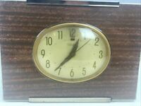 Vtg 50s Telechron Electric Clock 7H187 Wood Grain Brass MCM GE Made in USA