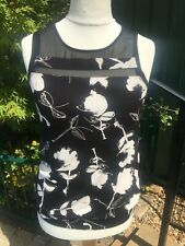 Next sleeveless slouch top black & white 10 mesh shoulders floral print