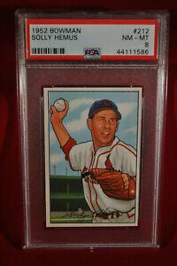 1952 Bowman - #212 - Solly Hemus - PSA 8 - NM-MT