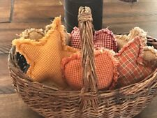 New Homespun Plaid Ornies Bowl Fillers PrImITive Stars Heart Harvest Fall Orange