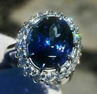 4 ct Oval Blue Sapphire Diamond Cluster Halo Engagement Ring 14K White Gold Over