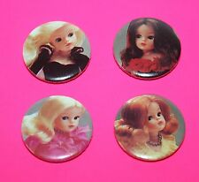 Set Of 4 Vintage Style Sindy Doll button pin badges