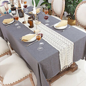 Wedding Table Runner Lace Tassel Crochet Hollow Woven Tablecloth Home Decor SG