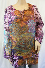 ★ PFEFFINGER ★ 38 ~ Designer Bluse / Tunika ~ bunt ~ transparent ~  langarm  NEU