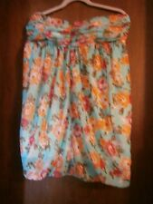 FOREVER 21 PRETTY  FLOWERED STRAPLESS DRESS SIZE JUNIOR LARGE