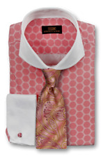 Dress Shirt by Steven Land Spread Collar Rounded French Cuff- Pink -DW1739-PK