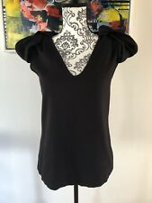 Women's Country Road,Black V Neck Short Sleeve Top . Size Small 10-12EUC