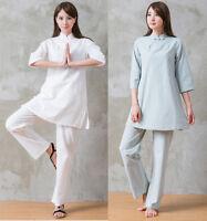 Womens Martial Arts Wing Chun Suit Costume Soft Cotton Yoga Tai Chi Uniform Sets
