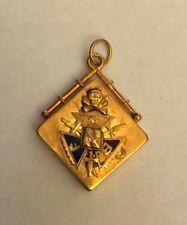 Antique Gold Tone Metal Black Onyx Knights of Pythias Watch Fob Pendant FCB