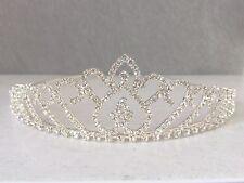 Tiara Boda Nupcial Princesa Corona De Plata Cristal Estrás Diadema Pelo Baile de graduación