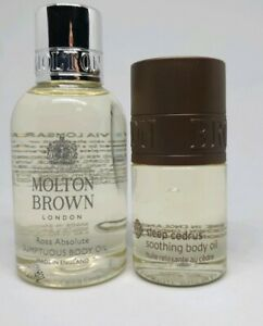 Molton Brown Rosa Absolute Sumptuous Body Oil 45ml & Sleep Cedrus Soothing Body