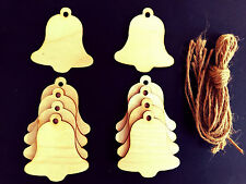 WOODEN BELL GIFT TAGS XMAS DECORATION 70mm PACK OF 10 SHAPES