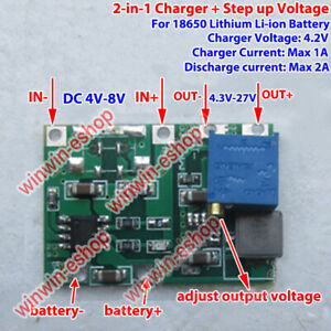 1S 1A 3.7V Lithium Li-ion 18650 Battery Charger Board DC-DC Boost Step up Module