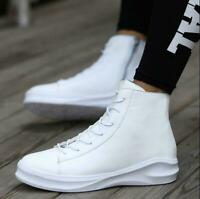 Men's Stylish High Top Breathable Sneakers Lace Up Heel Ankle Boots Zipper Shoes