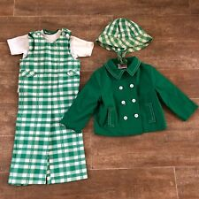 2T Basic Togs boys 4 pc outfit overalls shirt jacket hat green plaid 60s white 2