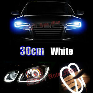 2x 30cm White Soft Tube LED Light Bars For Car Motorcycle Headlight Retrofit