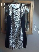 Annie Greenabelle black and ecru sleeveless bodycon dress UK 12
