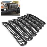 ABS Front Grille Cover Insert Mesh Grill Shell Trim For Jeep Wrangler TJ 1997-06