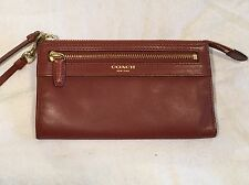 Coach Leather Cognac Brown Zippy Wallet Wristlet Clutch