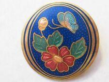 Lovely Vintage Cloisonne Flower & Butterfly Brooch Pin