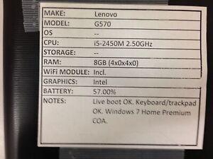 Lenovo G570 *Parts/Repair* i5/8GB/BATT - No OS/HDD/CHRG