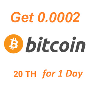 Get 0.0002 BTC . Instant Bitcoin Cloud Mining Contract 20 TH for 1 Day.