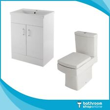 Gloss White 600mm Vanity Unit Embrace Close Coupled Toilet Basin Sink Cabinet