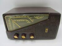 VINTAGE ANTIQUE ZENITH AM-FM TUBE RADIO BROWN MID CENTURY ART DECO BAKELITE?