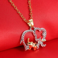 Beautiful Mothers Day Crystal Elephant Pendant Gold Chain Necklace Special Gift
