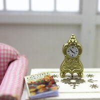1:12 Miniature golden pendulum clock dollhouse diy doll house decor accessories