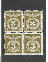 MNH 1943 WWII stamp block / Third Reich Germany / Imperial Eagle & WWII Emblem