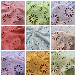 Cotton Hollow Out Fabric Floral Flower Lace Embroidery Dress Curtain Drape Trims