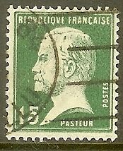 """FRANCE TIMBRE STAMP N°171 """"TYPE PASTEUR, 15 C VERT"""" OBLITERE TB"""