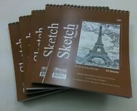 "5 Pcs 50 sheets 6"" x 8"" Top Bound Spiral Premium Quality Sketch Book Paper Pad"