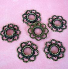 8 pcs- Antiqued Bronze Plated Alloy Round Charms.